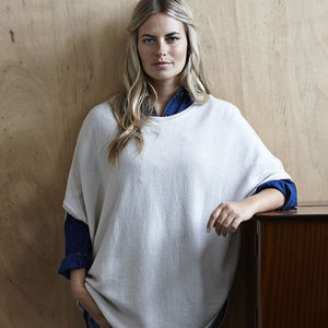 Reversible Cashmere Cotton Poncho - more