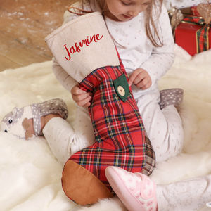 Personalised Red Tartan Patchwork Christmas Stocking - christmas decorations