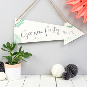 Garden Party Metal Arrow Sign - signs