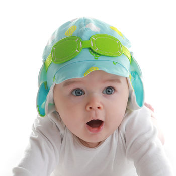 Baby's Pilot Sun Hat With Googles Green And Yellow