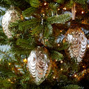Set Of Three Antique Effect Glass Oval Christmas Bauble