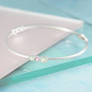 Opal And Tourmaline Triple Stone Silver Bangle
