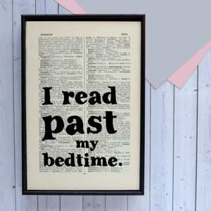 'I Read Past My Bedtime' Literary Book Page Print