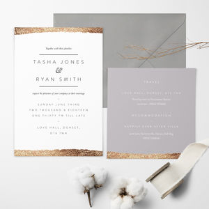 Rose Gold Whisper Wedding Invitation - shoreline wedding trend