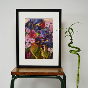 Iris Bouquet Original Oil Painting - canvas prints & art