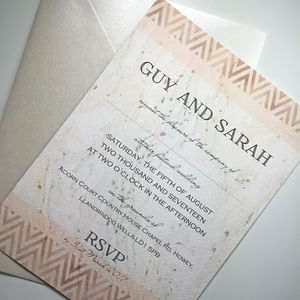 Blush And Copper Chevron Wedding Invitation