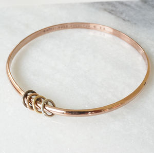 Rose Gold Personalised Bangle With Silver Or Gold Rings - 40th birthday gifts
