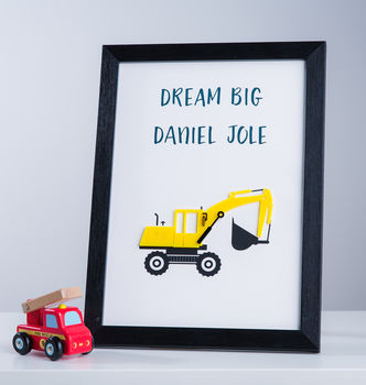 Personalised Digger Boys Nursery Bedroom Framed Print