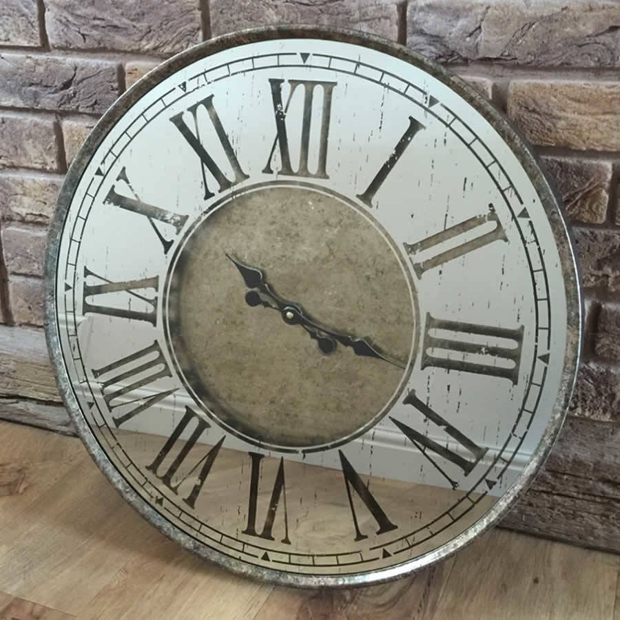 Aged Bronze Mirrored Metal Wall Clock Roman Numerals By