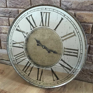 Aged Bronze Mirrored Metal Wall Clock Roman Numerals - clocks