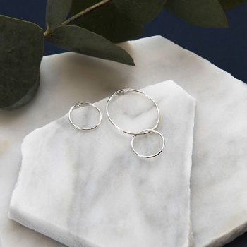 Asymmetric Sterling Silver Circle Earrings