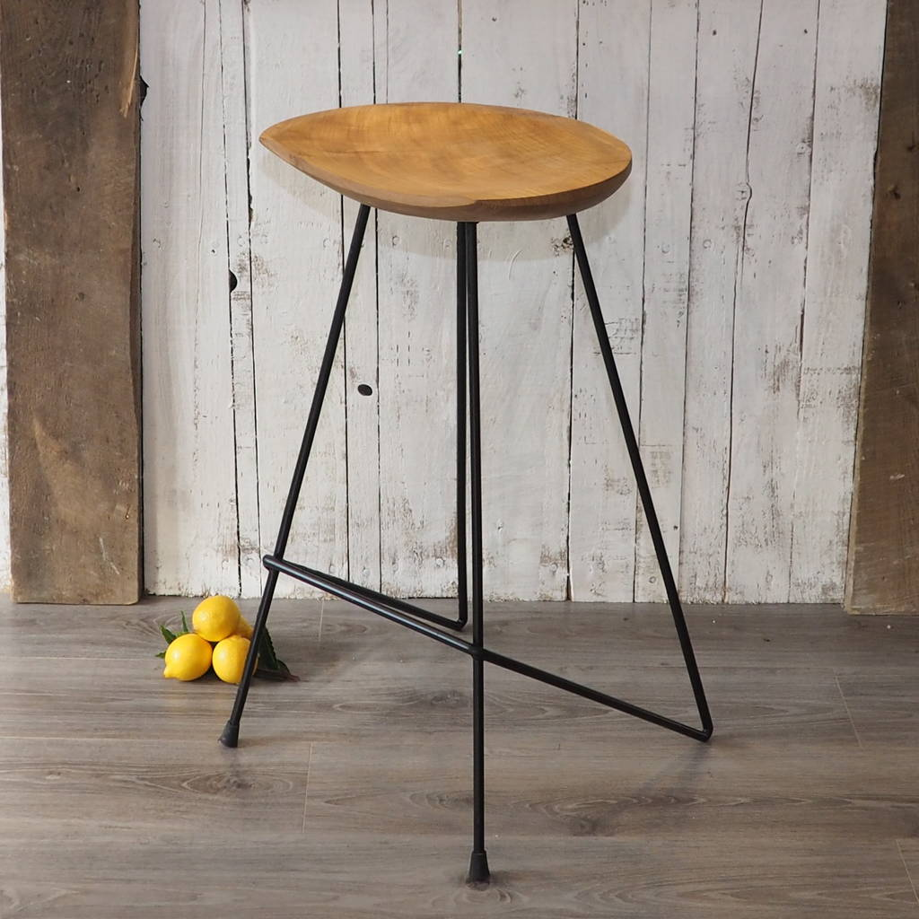 Industrial wood bar stool by za homes