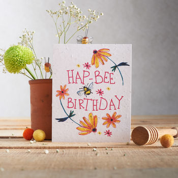 'Hap Bee Birthday' Wildflower Seed Card