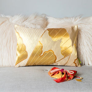 Gold Cream Fan Silk Kimono Cushion