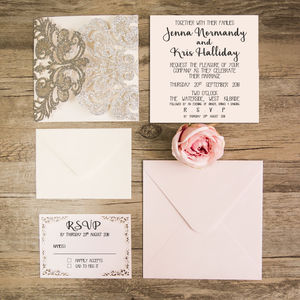 Lace Detail Laser Cut Gatefold Wedding Invitation - adults party invitations