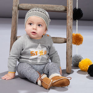 Comet Star Motif Knitted Baby Jumper