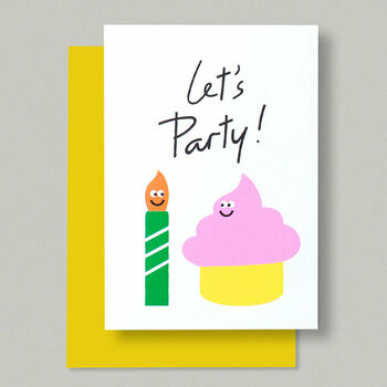 Happy Let's Party Pink Cupcake And Candle Birthday Card