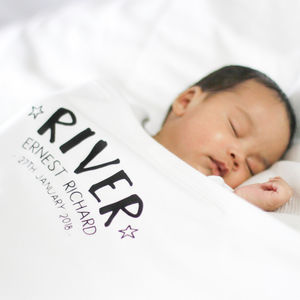 Personalised Birth Announcement Baby Blanket