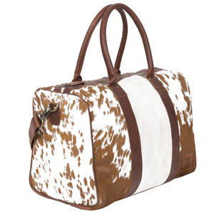 Cortes Compact Weekender Animal Print/Natural Pony Fur - holdalls & weekend bags
