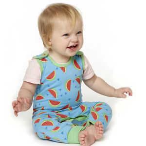 Watermelon Print Dunagree Romper - clothing
