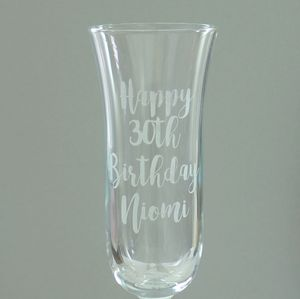 30th Birthday Personalised Engraved Flute Glass