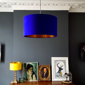 Brushed Copper Or Gold Lined Lampshade Electric Blue - dining room