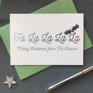 Pack Of Modern Personalised Christmas Cards