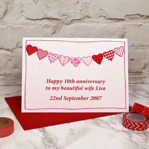 Hearts Personalised Anniversary Card