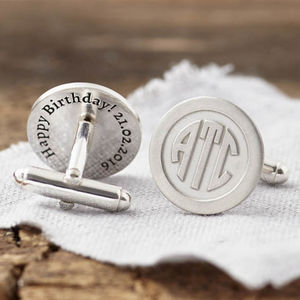 Personalised Deco Monogram Hidden Message Cufflinks - personalised gifts
