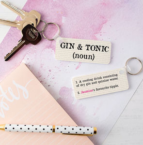 Personalised Gin And Tonic Definition Keyring