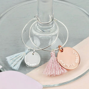 Set Of Four Personalised Wine Glass Charms - winter sale