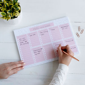 Hello New Week To Do List Weekly Planner And Desk Pad