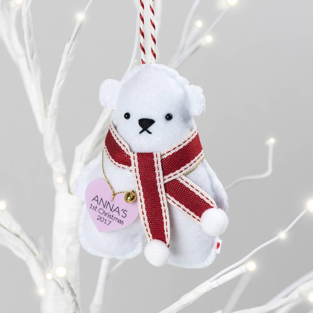 Baby 39 s first christmas polar bear decoration by miss for Baby s first christmas decoration