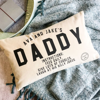 Personalised Daddy Instructions Father's Day Cushion