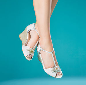 Santorini Ivory Satin Wedding Wedges - bridal shoes
