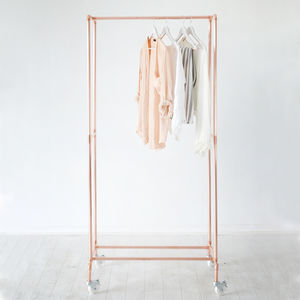 Hotel Porter Style Copper Pipe Clothing Rail