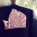 Pink Peacock Print Pocket Square