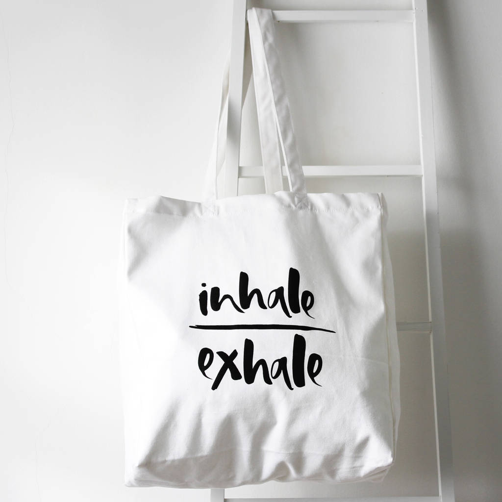 Too Wordy 'Inhale/Exhale' Organic Cotton Tote Bag
