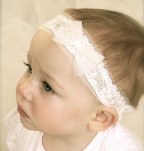 Tabitha Ivory Baby Christening / Flower Girl Headband - clothing