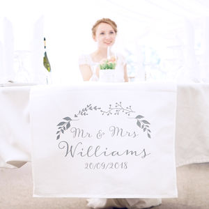 Personalised Botanical Wedding Table Runner