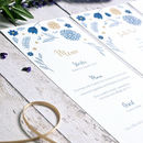 Personalised Botanical Illustration Menu