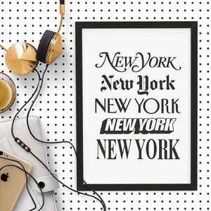 'New York' Wall Art Typography Print - winter sale