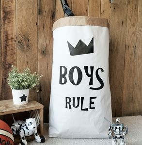 'Boys Rule' Paper Storage Bag - storage & organisers