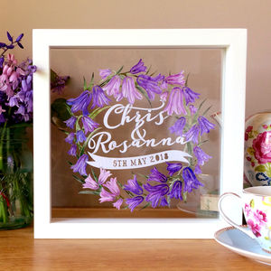 First Wedding Anniversary Bluebell Papercut Gift - 1st anniversary: paper