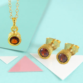 Fine Garnet January Birthstone Gold Jewellery Set