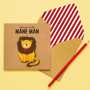 Handmade 'Mane Man' Personalised Father's Day Lion Card