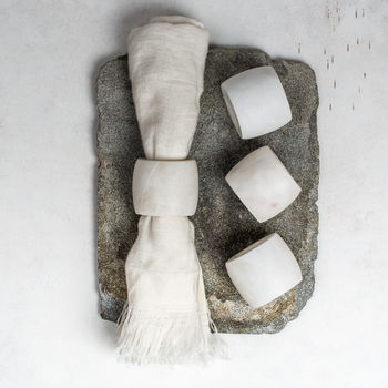 White Marble Napkin Rings Set Of Four
