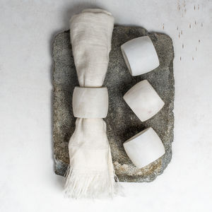 White Marble Napkin Rings Set Of Four - kitchen