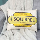 Personalised Road Name Cushion
