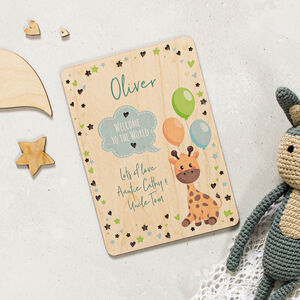 Personalised Wooden Card For New Baby In Blue